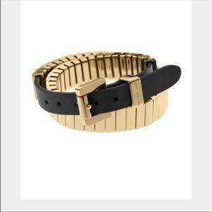 💕Michael Kors Black & Gold  Leather Bracelet